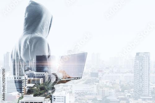 Fotografie, Obraz  hacker, laptop and city