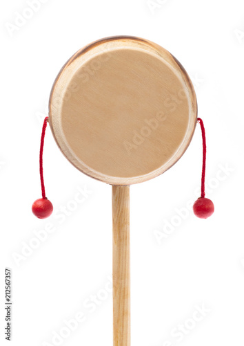 Fotografija  Denden daiko folk art toy isolated on a white background
