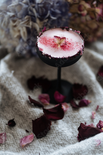 Tasty Nordic beverage with rose petals
