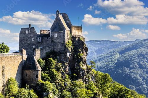 Foto op Aluminium Oude gebouw View of historic Aggstein castle ruin on the Danube river. Lower Austria.