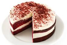 Red Velvet Cake Isolated On Wh...