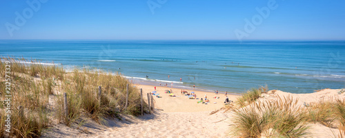 Panorama of the dune and the beach of Lacanau, atlantic ocean, France Poster Mural XXL