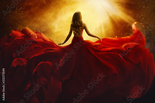 Printed kitchen splashbacks Brown Fashion Model Back Side in Red Flying Dress, Woman Rear View, Gown Fabric Fly on Wind, Beautiful Girl Looking to Light