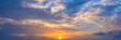 canvas print picture - Panoramic view of the sky at sunset with beautiful clouds