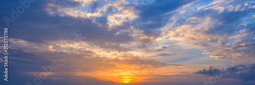 Aluminium Prints Heaven Panoramic view of the sky at sunset with beautiful clouds