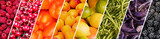 Fototapeta Tęcza - Fresh fruits and vegetables rainbow panoramic collage, healthy eating concept