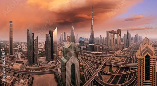 Poster Stad gebouw Dubai skyline during sunrise, United Arab Emirates.