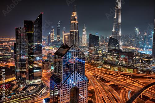 Tuinposter Stad gebouw Dubai skyline during sunrise, United Arab Emirates.