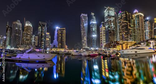 Papiers peints Singapoure Dubai skyscrapers panorama during night hours