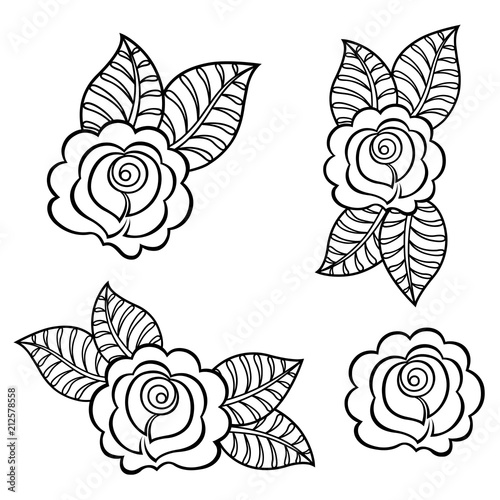 Set Of Mehndi Rosa Flower Pattern For Henna Drawing And Tattoo