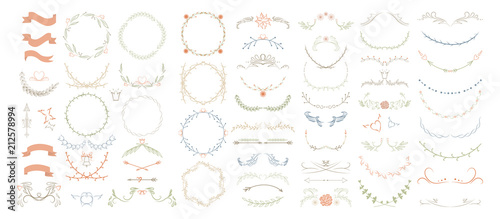 Beautiful monogram set with floral elements Canvas Print