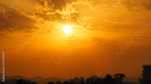 Silhouette of a Mediterranean town at sunset