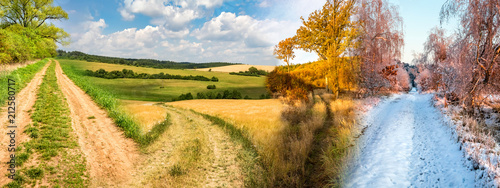 Obraz Four season collage from shots with roads in landscape - fototapety do salonu