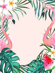 NaklejkaSummer frame with tropical jungle leaves and pink flamingo.Vector aloha illustration. Watercolor style