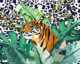 Summer frame with tropical jungle leaves and tiger.Vector aloha illustration. Watercolor style - 212581742