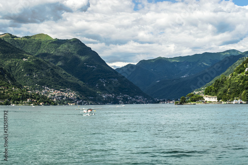 Scenic view of Lake Como and the foothills of the Alps