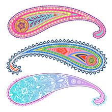 Colorful Paisley Set. Decorative Ornament Design.