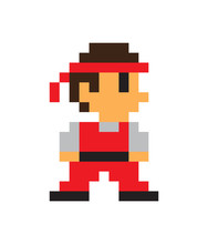 Game Character, Man Icon, Color Pixel Illustration