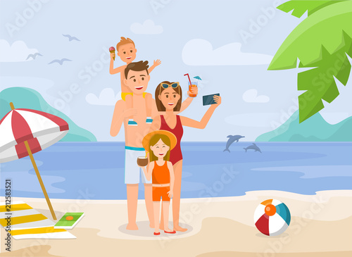 Foto op Canvas Honden Family Vacation on Beach. Vector Illustration.