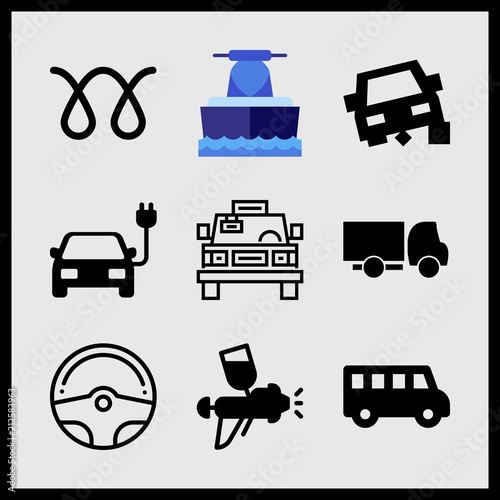 Simple 9 Icon Set Of Car Related Jet Boating Car Repair Steering Wheel And Car Heat Vector Icons Collection Illustration Buy This Stock Vector And Explore Similar Vectors At Adobe Stock