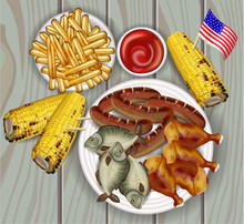 BBQ, Grilled Corn, Fish And French Fries Vector Realistic. Delicious Fast Food Products. Detailed Templates