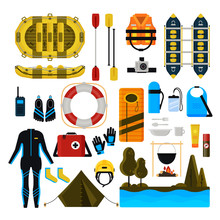 Rafting Icon Set Vector Isolat...
