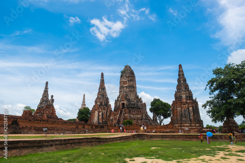 Foto op Plexiglas Bedehuis Ayutthaya, Thailand, Wat Chaiwatthanaram is an old temple in the Ayutthaya period. There are people walking the ruins and ancient traces.