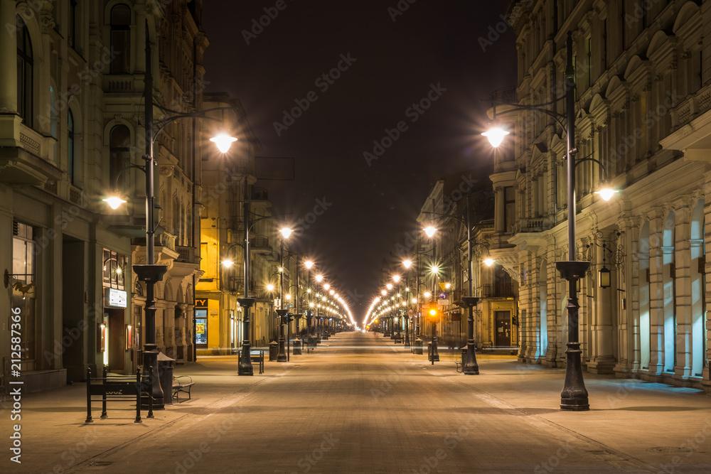 Fototapeta Piotrkowska street at night in Lodz city, Lodzkie, Poland