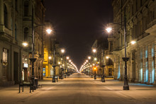 Piotrkowska Street At Night In...