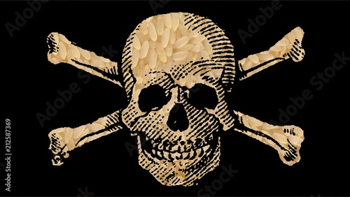 """Fotografía  RICE with Toxic Substance: """"Danger POISON"""" illustrated with Skull and Crossbones"""