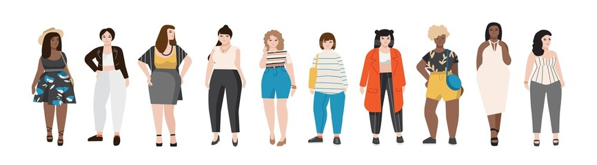 Collection of plus size women dressed in stylish clothing. Set of curvy girls wearing trendy clothes. Female cartoon characters isolated on white background. Colored vector illustration in flat style.