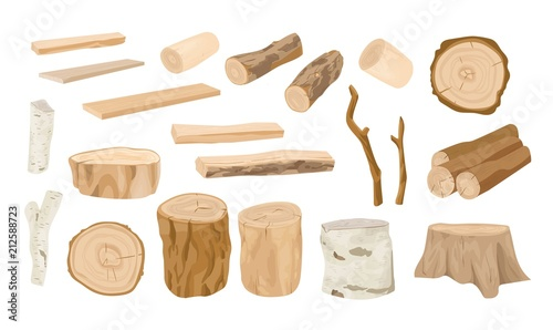 Photographie  Collection of wooden logs, tree branches, lumbers, timber sawn into rough planks isolated on white background