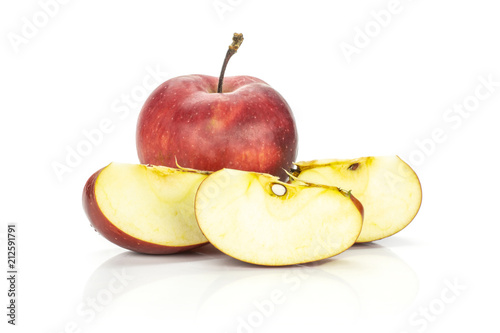 Red delicious one apple and three slices isolated on white background Wallpaper Mural
