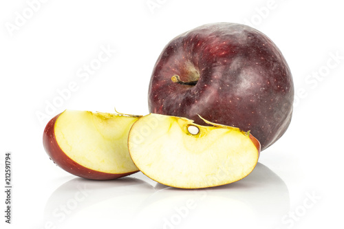 Red delicious one apple and two slices isolated on white background Canvas Print