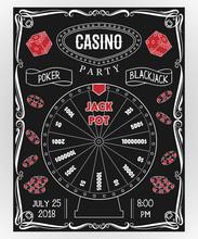Casino Party Invitation On Cha...