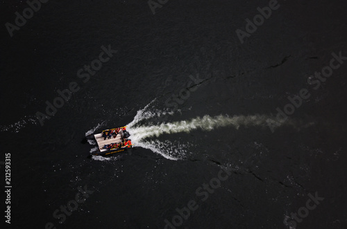 Rescue Boats on River Ariel photography Wallpaper Mural