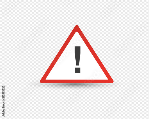 Photo Road exclamation point in red triangle, warning of other hazards.