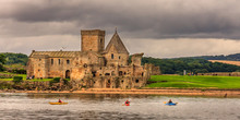 Kyakers In Front Of Inchcolm Abbey