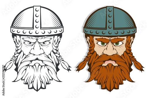Hand drawn of a viking in a helmet Canvas Print