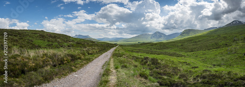 Fototapeta a view of the west highland way in the highlands of scotland during a bright summer day obraz
