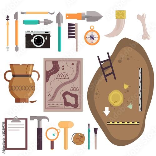 Photo Archaeology icon set vector isolated illustration