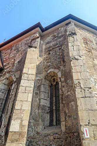 Foto op Aluminium Oude gebouw The Corvins Castle build by John Hunyadi, details of the exterior wall