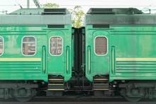 Two Green Passenger Wagons