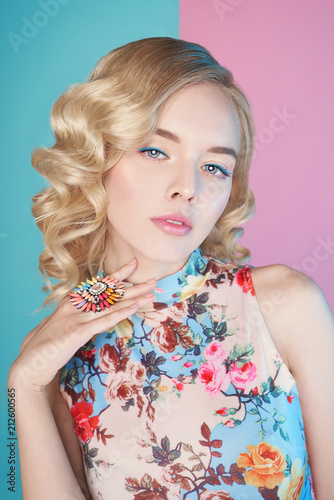 Foto op Plexiglas womenART Blonde woman with color makup on colorful background