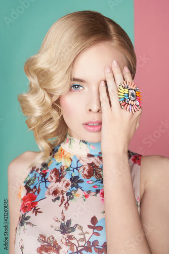Papiers peints womenART Blonde woman with color makup on colorful background