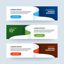 Set Of Three Vector Abstract Baners. Trendy Modern Flat Material Design Style. Blue, Green And Red Colors. Text Placeholder.