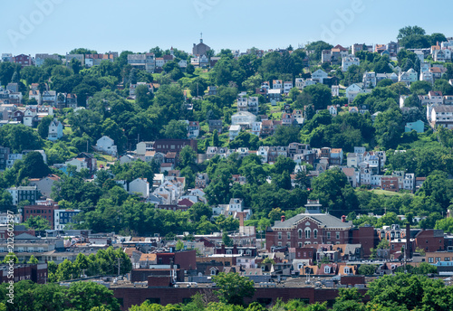 Valokuvatapetti Heat haze over South Side slopes in Pittsburgh