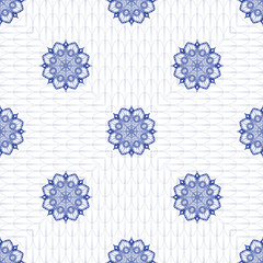 FototapetaSeamless vector background with ethnic pattern. Damask round floral ornament.