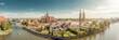 Leinwanddruck Bild - Poland. Wroclaw. Ostrow Tumski, park, and Odra River. Aerial 4K video.
