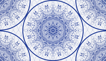 FototapetaVector seamless background. Round floral damask pattern. Ethnic pattern on backdrop.